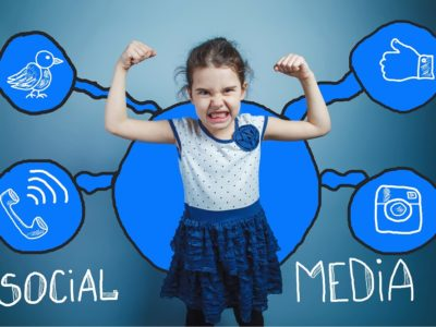 social media graphics with cute angry girl